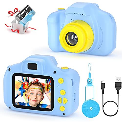 vatenick Fotocamera per Bambini Giocattolo Videocamera Digitale per Bambini Giocattolo per Bambini Schermo HD da 2 Pollici 1080P con 32 GB TF Card Giocattoli Regalo Ragazzi Ragazze da 3 a 12 Anni