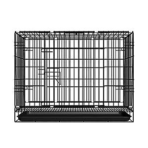 WYJW Jaula para Perros Cajones Grandes Plegables de una Sola Puerta con Bandeja de Metal no masticable 2-XS