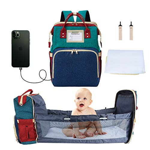 3 in 1 Diaper Bag Backpack Baby Changing Bag Multifunctional Portable Fold able Cot Bed USB Charging Cable High Capacity Waterproof Suitable for Parents to use When Going Out