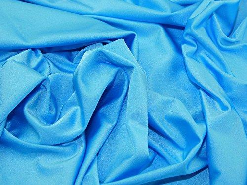 Tessuto in lycra, 1 m, tinta unita, elasticizzato, in nylon e spandex, in lycra, lucido, colore blu pavone, per costume da bagno in tessuto elastan, 150 cm di larghezza