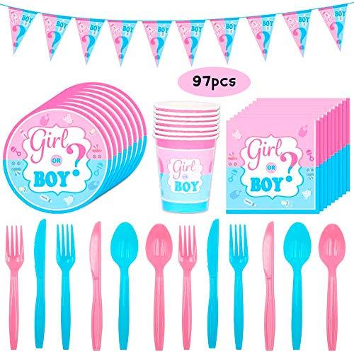 BESTZY 97 Pezzi Baby Shower Gender Reveal Stoviglie Festa Decorazione Kit,Festa di Compleanno per Baby Shower Include Tazze, Piatti, Tovaglioli, Banner,Forchette, Coltelli.