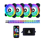 Apevia TL42-RGB Twilight 120mm Silent Dual-Ring Addressable RGB Color Changing LED Fan with Remote Control, 28x LEDs & 8X Anti-Vibration Rubber Pads w/ 2 Magnetic Addressable LED Strips (4+2-pk)