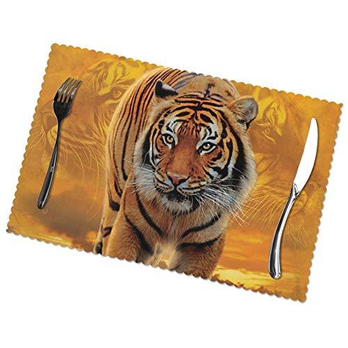 Juego de 6 manteles individuales con estampado de tigre de Rising Sun, fácil de limpiar, material de poliéster, aislamiento térmico