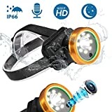 Headlamp Headlight for Work Outdoor Camping Running Bike Roadside Safety Hiking Night Sports Cave Adventure Climbing and Outdoor Inspection with Video Recorder 1080P HD
