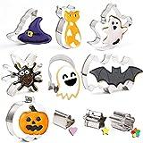 Juego de cortadores de galletas de Halloween,10 piezas Moldes Galletas Halloween,Cortadores Halloween de Galletas de...