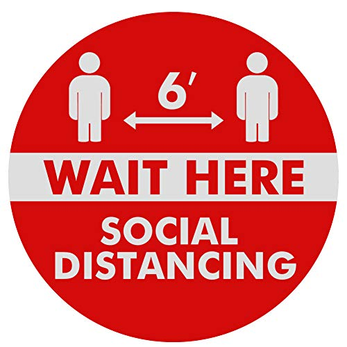 15 Pack Social Distancing Floor Decals Stickers - 12'' Wait Here Safety Floor Sign Marker - Stand Here Keep Social Distance Stickers for Shopping Malls, Grocery, Pharmacy, Bank, Supermarket (Red)