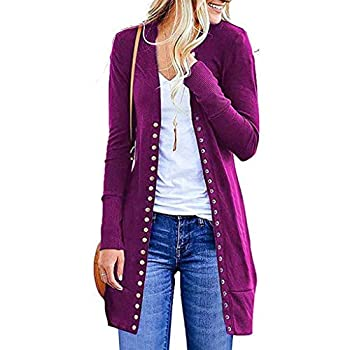 Long Cardigan Sweaters for Women,Womens Boho Open Front Cardigan Colorblock Long Sleeve Loose Knit Lightweight Sweaters Hot Pink