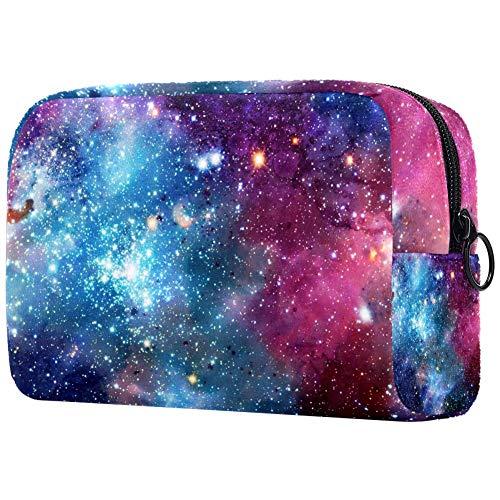 Bolsa de brochas de maquillaje personalizable, portátil, bolsa de aseo para mujer, bolsa de cosméticos, organizador de viaje acuarela espacio
