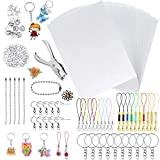 BEBEKULA 196 Pieces Shrink Plastic Sheet Kit Include 30 Heat Shrink Paper Sheets, Hole Punch and Keychains Accessories for Kids Creative Craft