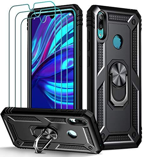 iVoler Cover per Huawei Y7 2019 con 3 Pezzi Pellicola Vetro Temperato, Grado Militare Custodia Protezione con Anello Ruotabile Cavalletto, Antiurto TPU Bumper Case - Nero