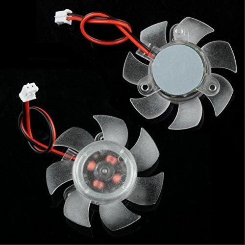 elektrischer Lüfter Hochwertige 45 x 10 mmtransparente 12 V 2-polige PC-Grafik VGA-Grafikkarte Kühlkörper Kühler Kühlung Ersatzlüfter 7 Flügel
