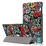 Yobby Coque pour Samsung Galaxy Tab S4 10.5 T830/T835,Graffiti Housse en Cuir avec Motif Support...