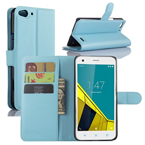 Vodafone Smart Ultra 6 Hülle, HualuBro [Standfunktion] [All Aro& Schutz] Premium PU Leder Wallet Tasche Schutzhülle Hülle Flip Cover mit Karten Slot für Vodafone Smart Ultra 6 Smartphone (Blau)