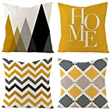 Set of 4 Decorative Throw Pillow Covers 18x18 Inch for Couch, Square Accent Yellow Pillows Cover Case for Cushions Sofa Bed Cushion Chair and Living Room Farmhouse Set Outdoor Decoration (Yellow)