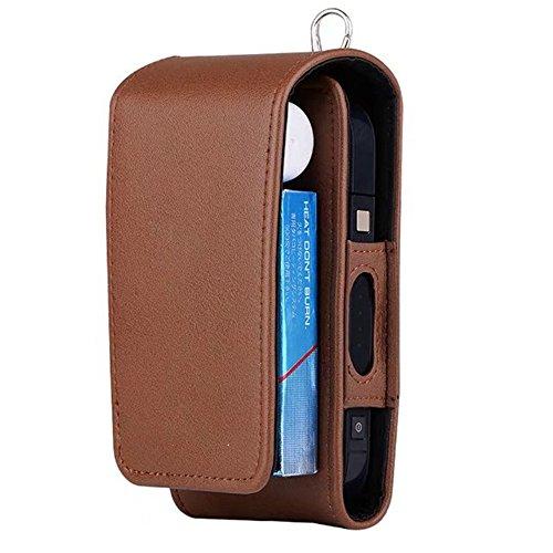 iQOS Estuche protector para cigarrillo electrónico, de piel sintética, incluye caja y soporte de tarjetas, Marrón