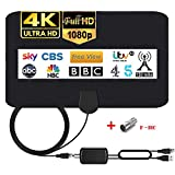 Indoor TV Aerial 150 Miles Digital HDTV Antenna with Detachable Signal Amplifier Freeview 4K 1080P HD VHF UHF for Local Channels Support ALL Television - 14.4FT Coax Cable