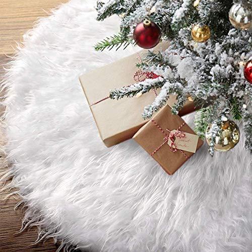Xiangmall Gonna Albero di Natale Bianca Peluche Tappeto Gonna Copertura di Base per Decorazione Festa Natalizie Casa Capodanno Ornamenti (78 cm)
