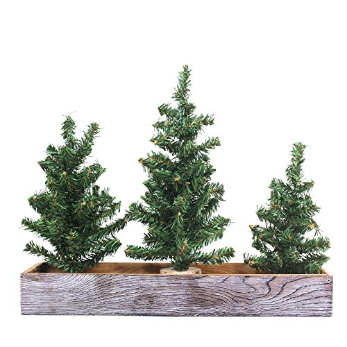 Winlyn 3 Pack Mini Canadian Pine Trees with Wood Bases Artificial Miniature Christmas Trees and Rustic Planter for Holiday Season Tabletop Decoration Centerpiece Displays