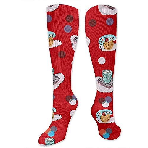 PPPPPRussell Novelty Socks Kniestrümpfe Skizze Kaffeetassen und Süßigkeiten Lebensmittel Socken Sport Sportliche Socken Schlauchstrümpfe Lange Socken Lustige Socken Für Männer Frauen