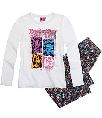 Monster High Schlafanzug lang 3 Variationen (122/128, weiß)