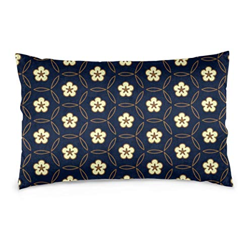 Rockboy Fundas de Almohada de algodón White Flower Medallion On A Navy Blue. Adorno geométrico Simple Allover 50X35 cm Fundas de Almohada