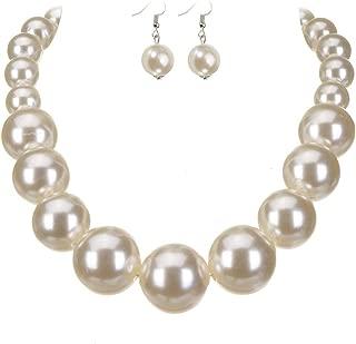 UK Women Lady Jewelry Set Pearl Necklace Choker Pendant Bracelet Earrings Gift