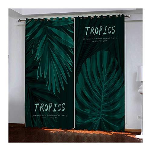 Amody Cortina Salon Moderna Opaca, Cortinas Termicas Habitacion Hojas de la Selva Tropical Cortinas Verde Cortina Habitacion Adolescente 214x244CM