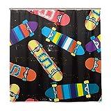 N\A Helle Skateboards Duschvorhang Wasserdichtes Polyestergewebe Bad Curtian Badezimmer Dekor mit 12 Haken Zoll