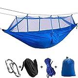 KPTHKW Camping/Jardín Hamaca con mosquitero Muebles de Exterior 1-2 Persona Portátil Colgante Fuerza Solución de paracaídas Swey Swing para Patio, Patio, Viaje, Playa (Color : Blue 1)
