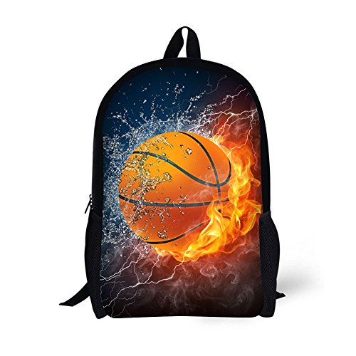 Book Bags for Kids 17 Inch Combustion Pattern School Bags (Basketball)