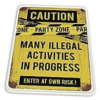 マウスパッド ゲーミングマウスパッド-警察注意テープで注意パーティーゾーンサイン滑り止め デスクマット 水洗い 25x30cm