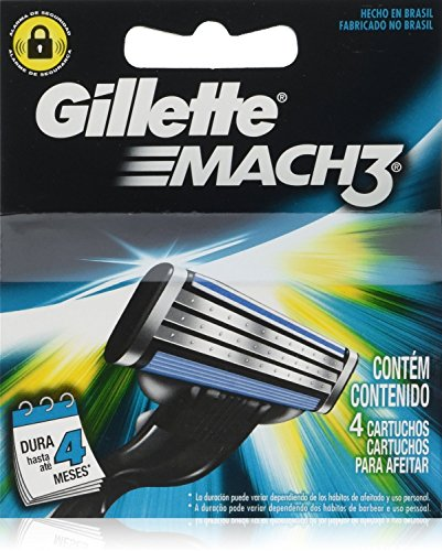 Gíllette Mach 3 Razor Refill Cartridges, 16 Count (4 Pack, 4 Blades to a Pack)