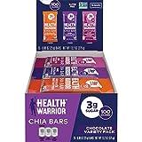 Health Warrior Chia Bars, Chocolate Variety Pack, Gluten Free, Vegan, 25g Bars, 15 Count