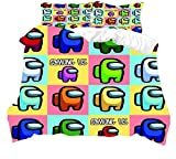 YOMOCO Among us - Juego de cama de lujo con temática de videojuegos en 3D, diseño de dibujos animados, para niños, ropa de cama familiar suave (8,220 x 240 cm + 50 x 75 cm x 2)