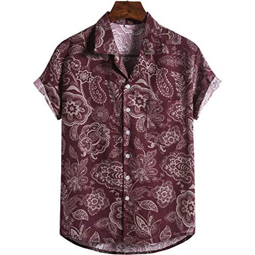 Camisa con Botones de Solapa para Hombre de Talla Grande Europea y Americana Camisa Informal de Manga Corta con Estampado Retro Estilo Hawaiano de Vacaciones XL