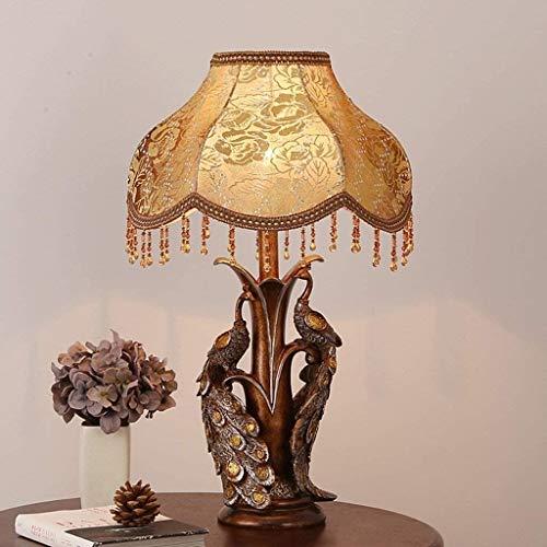 ZOUSHUAIDEDIAN Creativo del pavo real lámpara de mesa, lámpara de mesa retro europeo cama del estilo de la lámpara de cabecera, Sala Iluminación decorativa dormitorio lámpara de cabecera, clásico retr