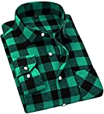 Cromoncent Men's Casual Plaid Flannel Long Sleeve Button Down Shirt Green X-Large