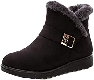 Inlefen Female Snow Boots Buckle Soft Non-Slip Walk Cotton Shoes with Side Zipper
