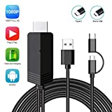 2-in-1 USB Type C/Micro USB to HDMI Cable, MayLowen 6.6ft MHL to HDMI Adapter 1080P HD HDTV Mirroring & Charging Cable for All Android Smartphones to TV/Projector/Monitor