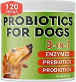 Pawfectchow Probiotics for Dogs - 120 Advanced Allergy Relief Dog Probiotics Chews + Digestive Enzymes - Relieves Diarrhea, Gas, Constipation - Improve Digestion, Immunity, Hot Spots - Made in USA