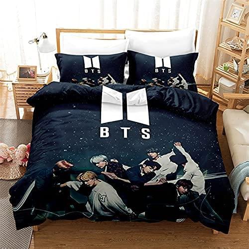 Aatensou BTS Juego de ropa de cama de 3 piezas, microfibra, con cremallera y funda de almohada, suave tejido de poliéster (1,135 x 200 cm/50 x 75 cm)