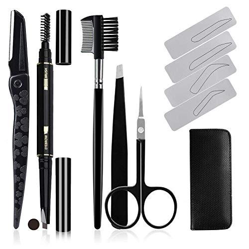 Kit de nettoyage des sourcils,AOBETAK 12PC Savec étui en cuir incluant un crayon à sourcils (brun foncé), des rasoirs, une brosse de toilettage, des ciseaux, des pincettes et des pochoir, nior