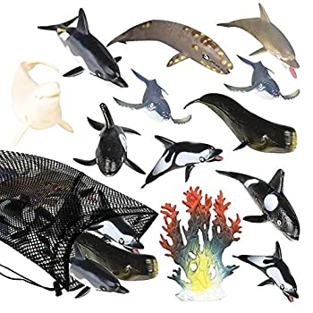 ArtCreativity Dolphins & Whales in Mesh Bag Pack of 12 Sea Creature Figurines in Assorted Designs Bath Water Toys for Kids Ocean Life Party Décor Party Favors for Boys and Girls