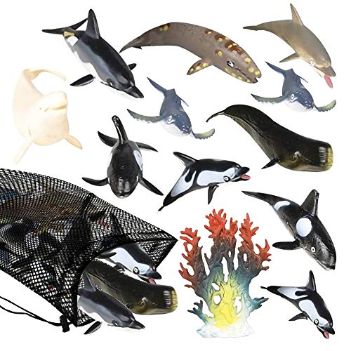 ArtCreativity Dolphins & Whales in Mesh Bag, Pack of 12 Sea Creature Figurines in Assorted Designs, Bath Water Toys for Kids, Ocean Life Party Décor, Party Favors for Boys and Girls
