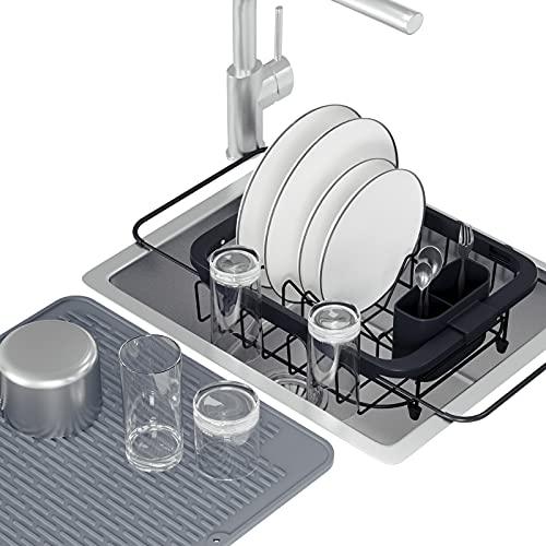 HomeMagic Scolapiatti, Estensibile con Vassoio Antigoccia, per far asciugare i piatti, nero - Scolapiatti estensibile con portaposate rimovibile, Scolapiatti da appoggio per lavello, per cucina (2)