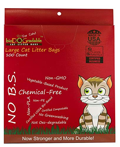 Large Cat Poop Litter Waste Bags - 100 Compostable Litter Bags Easy Tie Handles Extra Large Opening - Holds Up to 20 Lbs - 17 Inch by 22 Inch Alternative to Plastic - Not a Litter Box Liner
