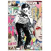 バンクシーストリートアートボーイ写真を撮るポスタープリントグラフィティアートキャンバス絵画壁アート写真リビングルームの装飾-50x75cmx1フレームなし
