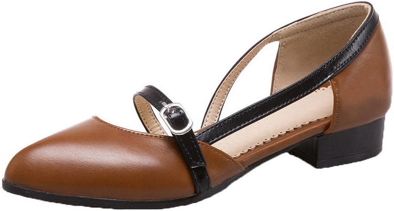 AmoonyFashion Women's Soild Microfiber Low-Heels Round-Toe Pumps-shoes
