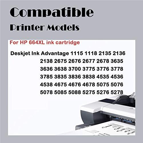 Cartucho De Tinta 664XL,reemplazo De Alto Rendimiento Para HP DeskJet Tinta Advantage 1115 2136 2135 2675 3635 3636 3836 3775 5075 Impresora De Inyección De Tinta Ne