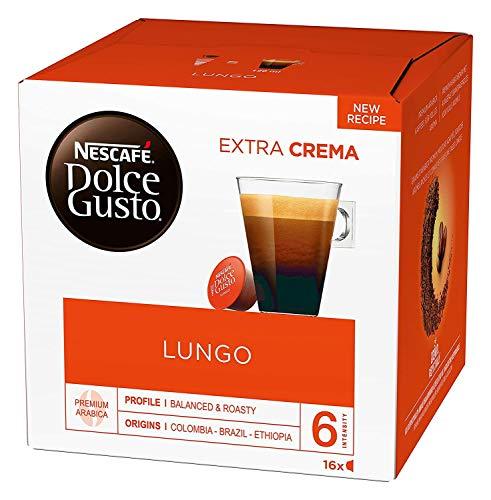 NESCAFÉ Dolce Gusto Lungo Kaffeekapseln (100 Prozent Arabica Bohnen, Feine Crema und kräftiges Aroma, Schnelle Zubereitung, Aromaversiegelte Kapseln) 1er Pack (1 x 16 Kapseln)